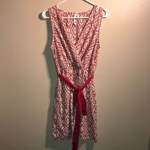 Pink Owl- Mini dress- Red/ off White with red sash
